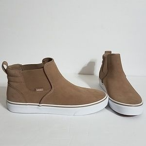 Vans Tan Suede Slip On Laceless High Tops Size 11